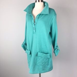 Vintage | Fleece Lined Tunic Top Sweater Teal Blue